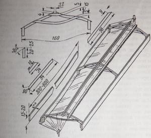 Рис.4. Разборно-переносной пленочный парник с солнечным обогревом
