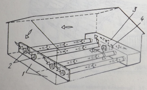 Рис. №4. Схема размещения почвенных труб, соедини¬тельного канала и вентиля¬тора в системе отопления теплицы с аккумуляцией сол¬нечного тепла в почве: 1 — приямок; 2 — почвен¬ные трубы: 3 — соедини¬тельный канал; 4 — вентилятор