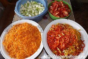 Морковь, болгарский перец, кабачки, помидоры.