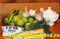 Горлодер из зеленых помидор с чесноком