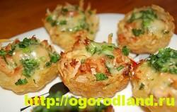 Сырные тарталетки с грибами и картофелем