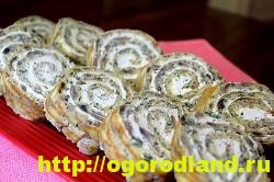 Начинка из грибов для рулета из куриной печени