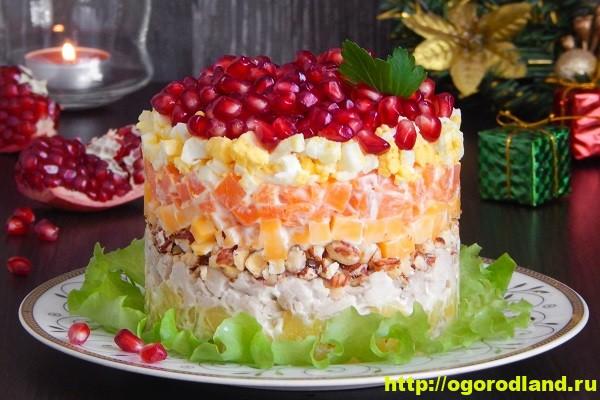 «Красная шапочка» - салат с курицей, орехами и гранатом