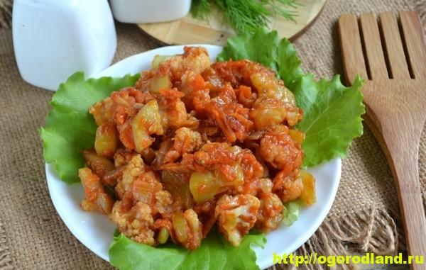 Блюда из овощей. Тушеные кабачки с цветной капустой 1